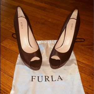 FURLA Chocolate Brown Peep Toe Heels